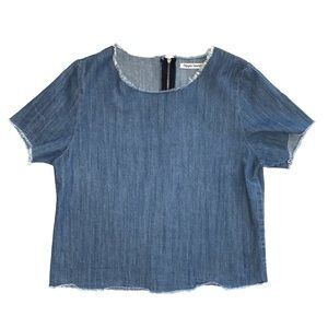 hippie laundry raw hem denim short sleeve top M